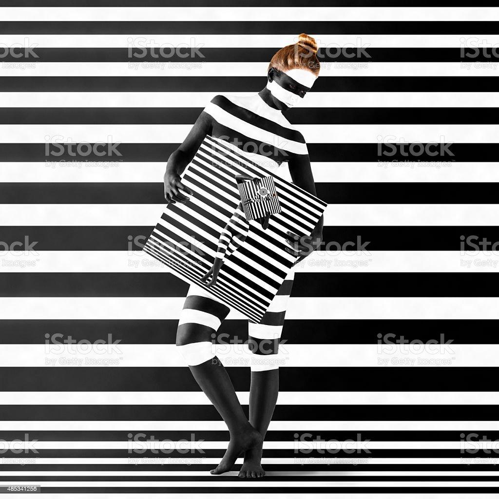 Woman With Zebra Print On Her Body stock photo