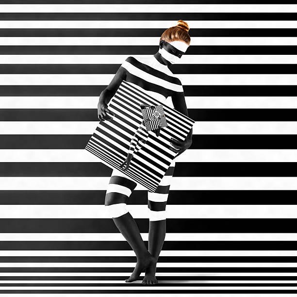 woman with zebra print on her body - naked women with animals stock photos and pictures