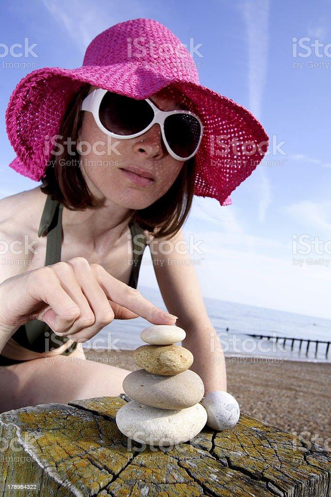 woman with zen stones royalty-free stock photo