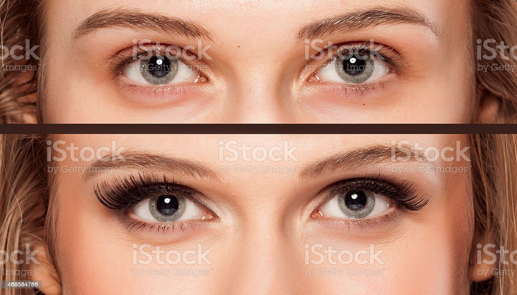 woman without and with makeup stock photo