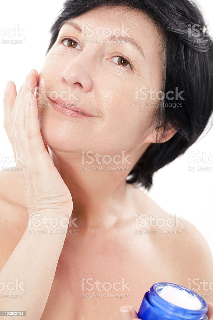 Woman wiyh jar of creme royalty-free stock photo