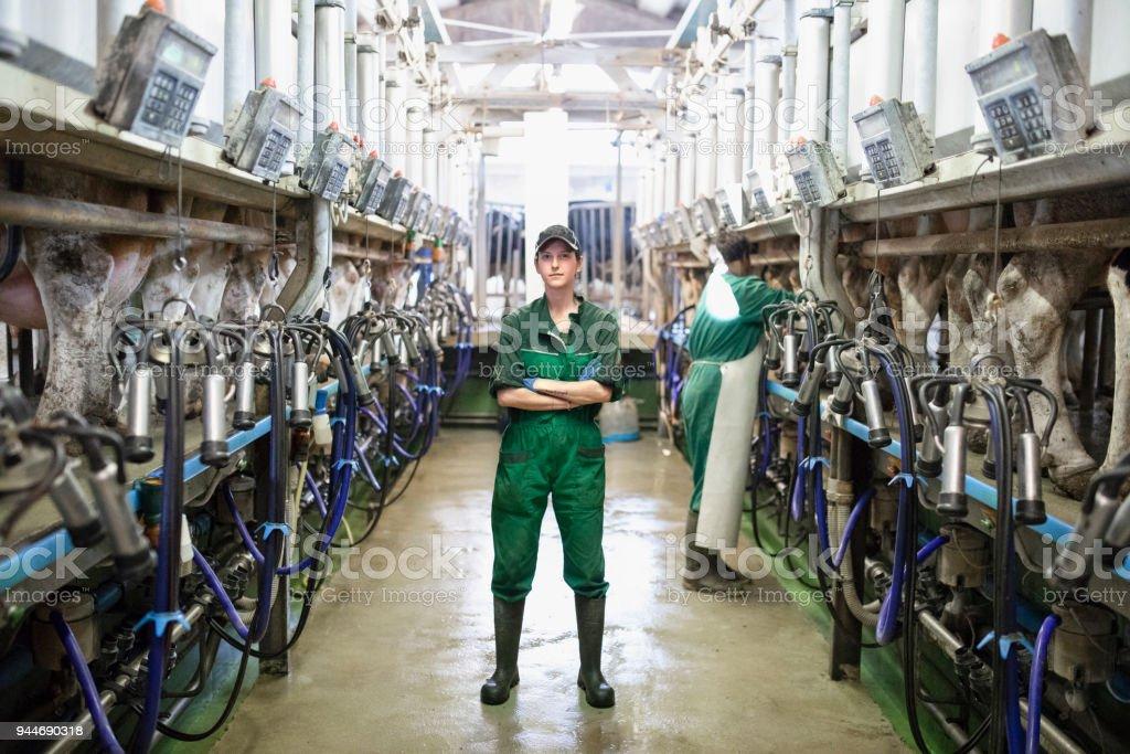 Woman worker portrait in the modern farm stock photo