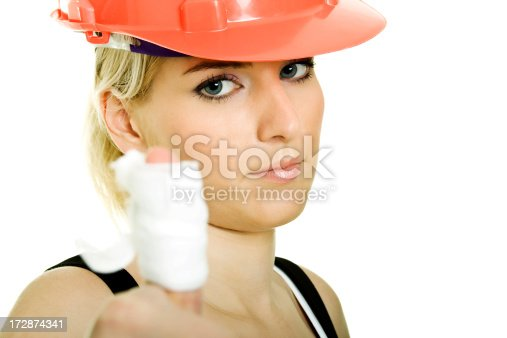 istock Woman worker with hurt finger 172874341