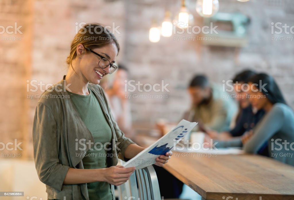 Woman working at a creative office stock photo