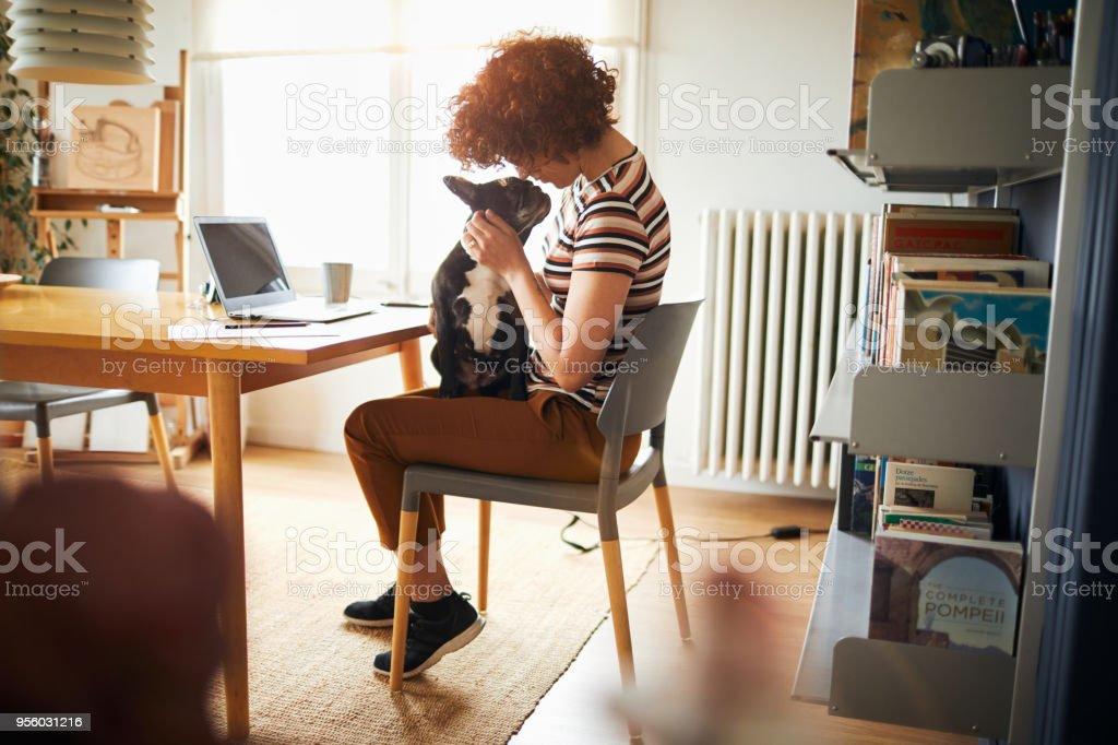 Frau zu Hause tun persönliche Finanzen arbeiten. – Foto
