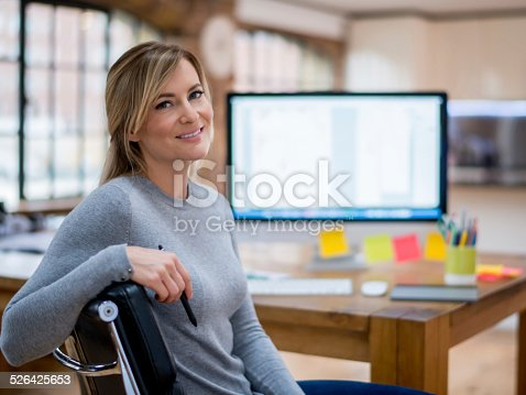 Business woman working at home on the computer