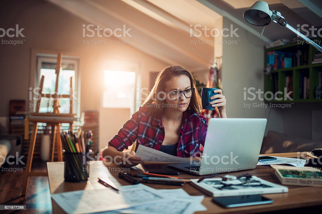 Woman working at home  – Foto