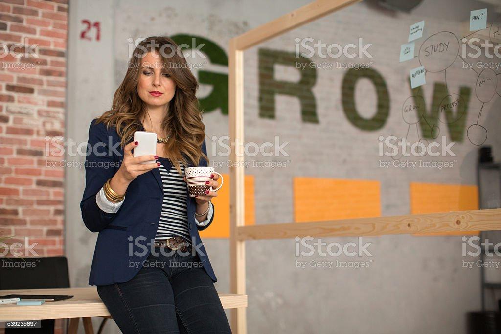 Mujer trabajando en oficina moderna. foto de stock libre de derechos