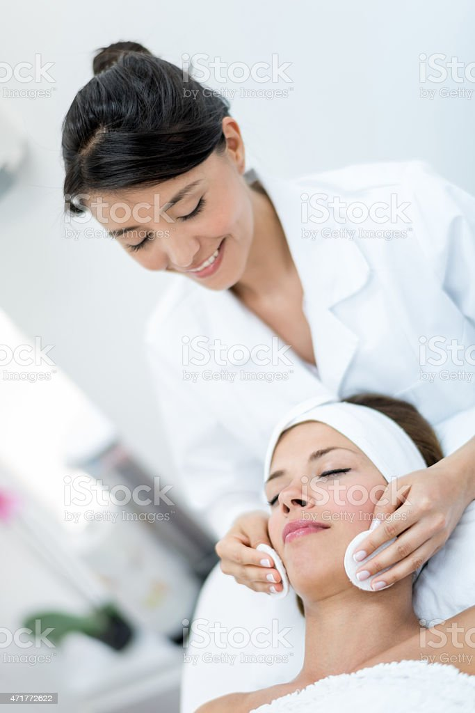 Woman working at the spa stock photo
