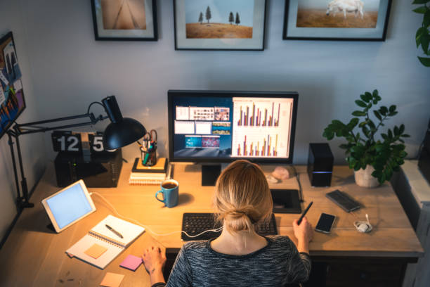 woman working from her own home - borchee stock pictures, royalty-free photos & images