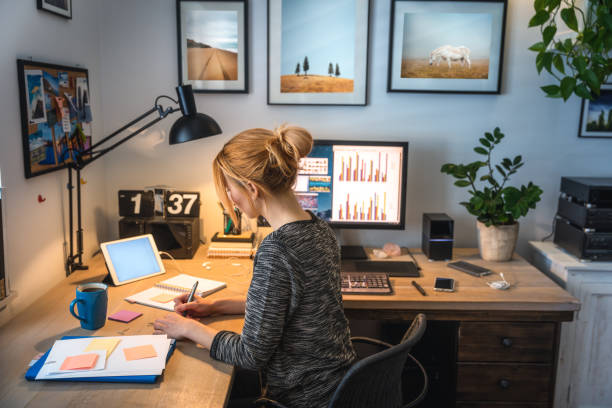 Woman Working From Her Own Home stock photo
