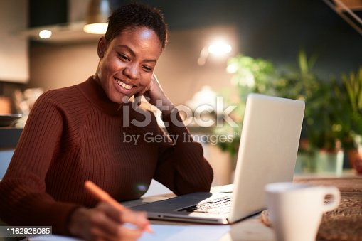 840623374 istock photo Woman working from home, handwriting a document. 1162928065