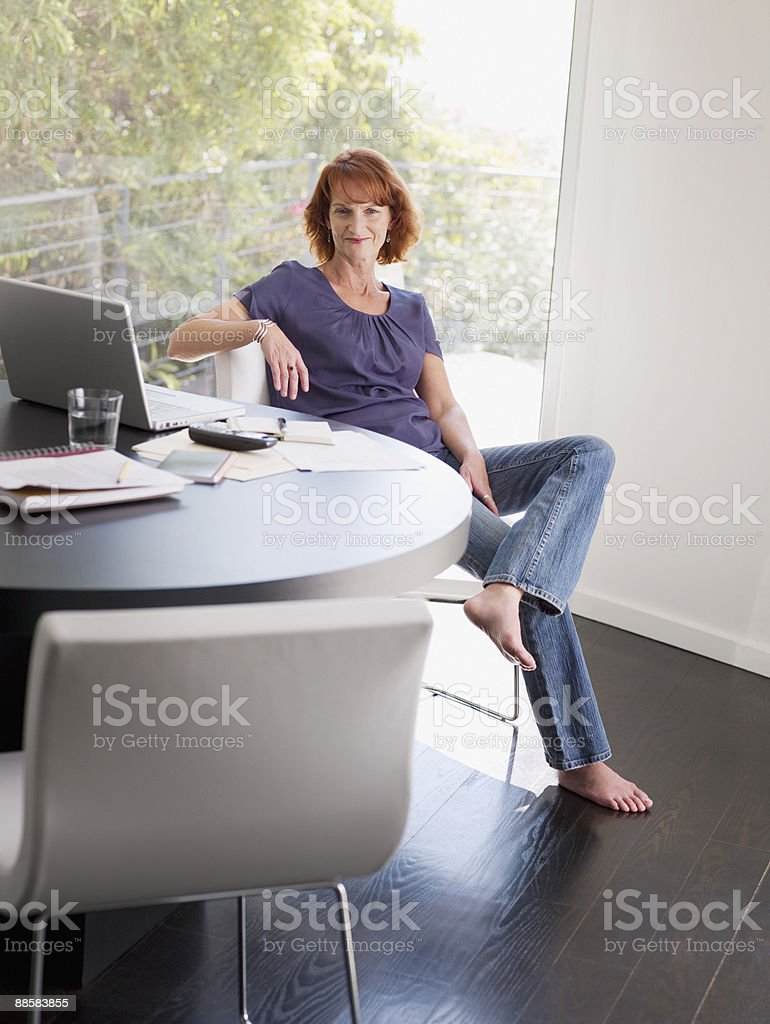 Woman working from home royalty-free stock photo