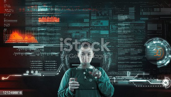 1054713428 istock photo Woman working futuristic user interface . High tech screens data and information . 1212498816