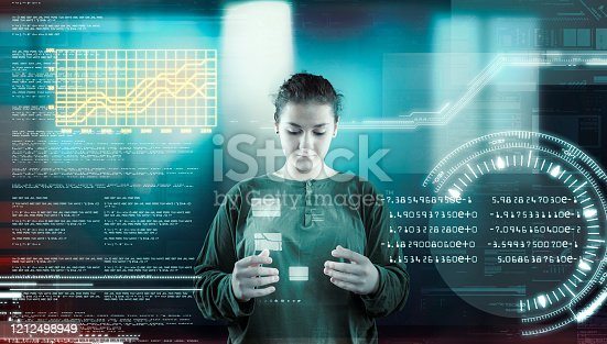1054713428 istock photo Woman working futuristic user interface . High tech screens data and information . 1212498949