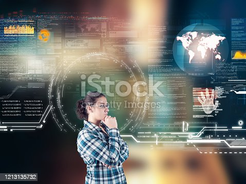 1054713428 istock photo Woman working futuristic user interface . High tech screens data and information . 1213135732