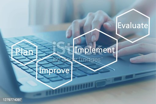 Woman working hand on keyboard close up, improvement circle of plan - implement - evaluate - improve