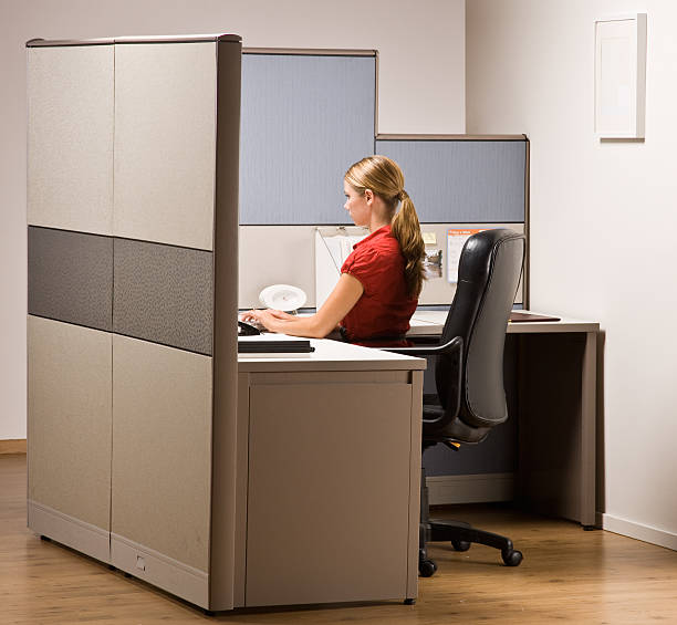 Femme d'affaires taper sur un ordinateur de bureau - Photo