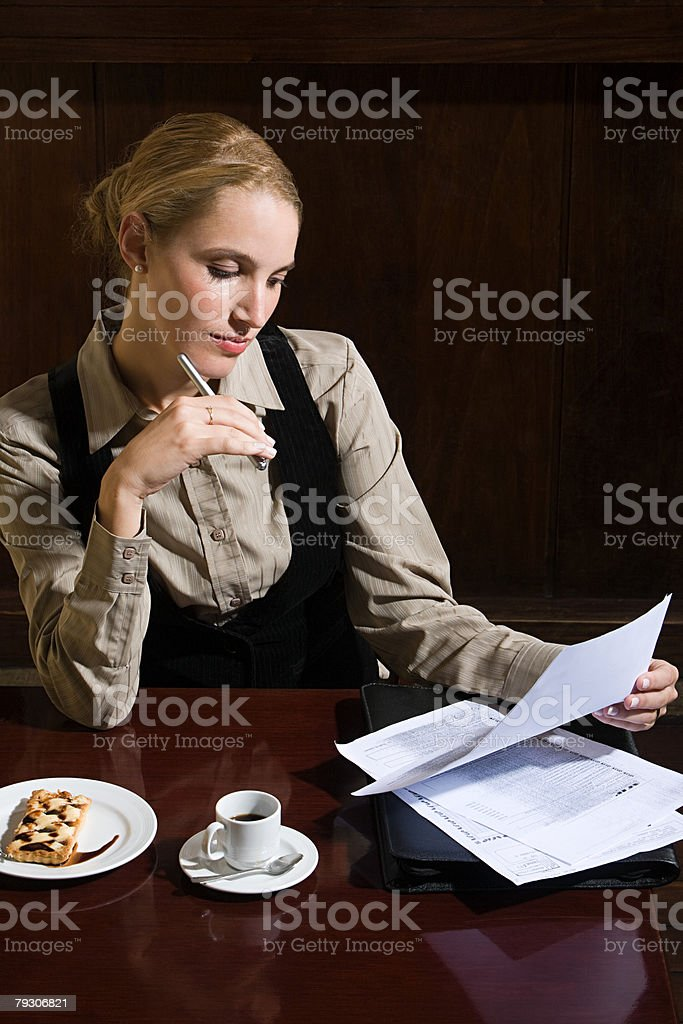 Woman working in cafe 免版稅 stock photo