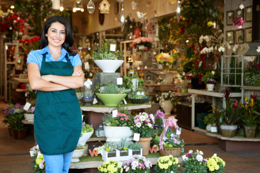 Woman Working In Florist Stock Photo - Download Image Now