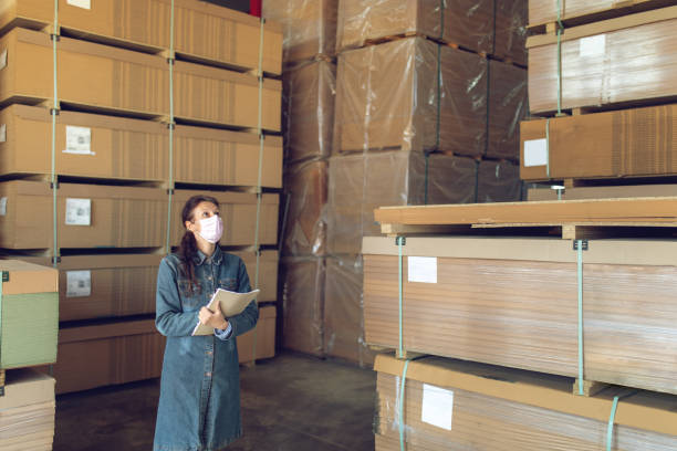 Woman working in industry distribution warehouse stock photo