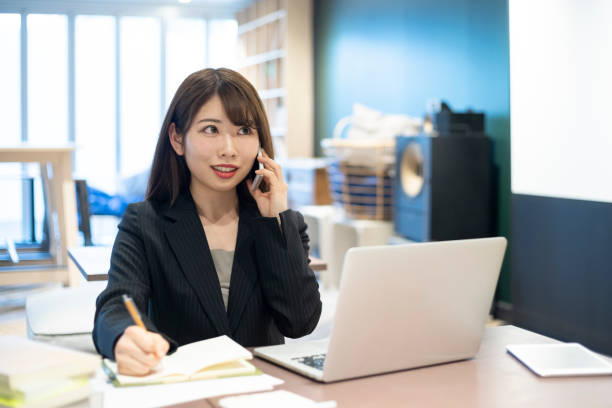 Woman working in working space stock photo