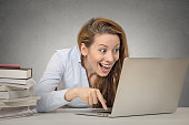 istock Woman working on computer ready press enter button 671427576