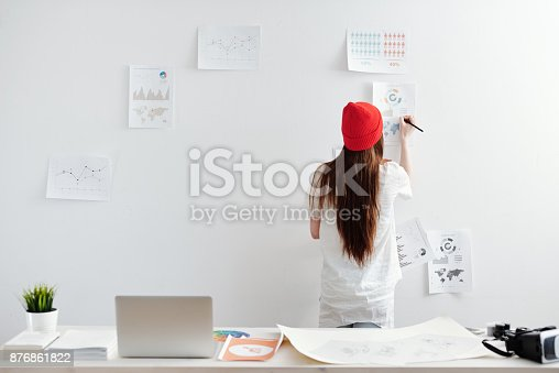 istock Woman working on infopraphic at home office 876861822