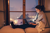 istock Woman working on laptop at home 636323990