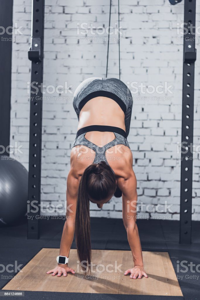 woman working out in gym royalty-free stock photo