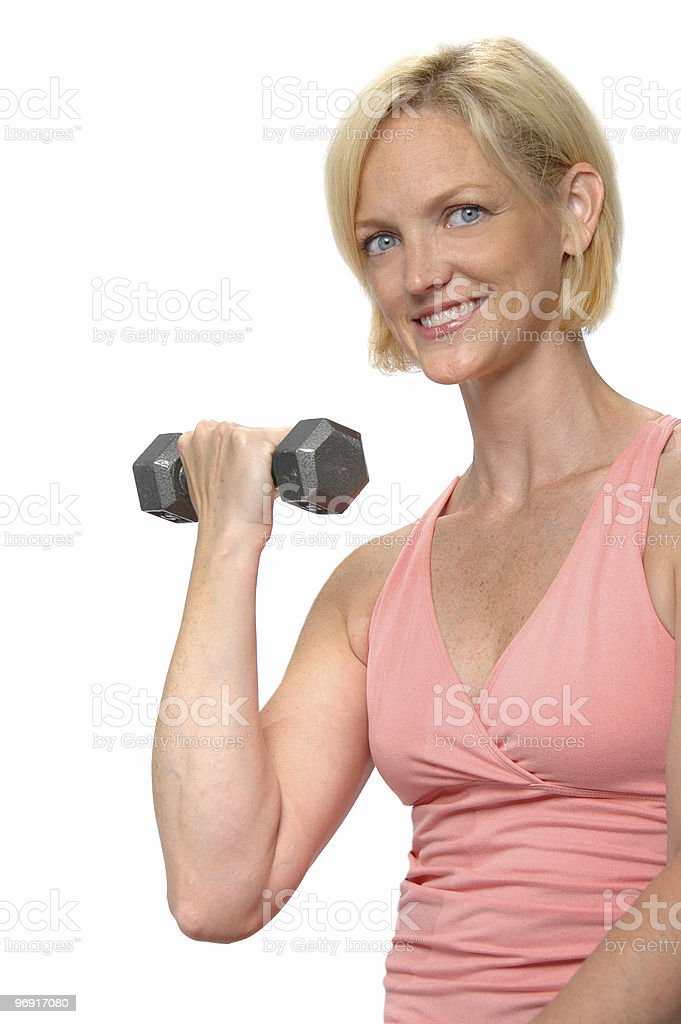 Woman working out with dumbbell royalty-free stock photo