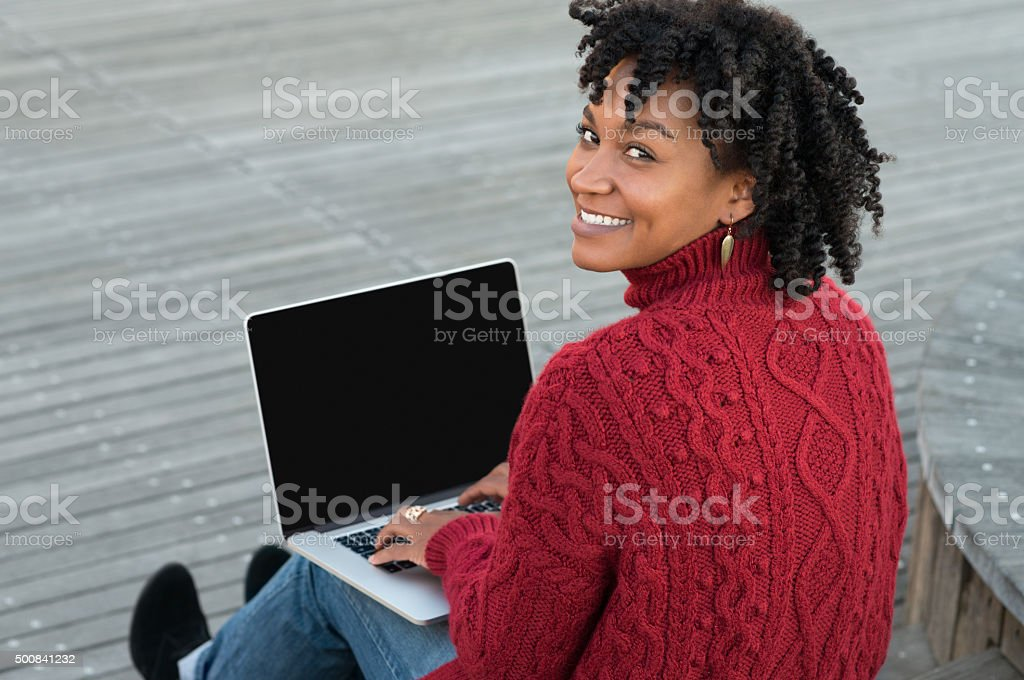 Woman working outdoor stock photo