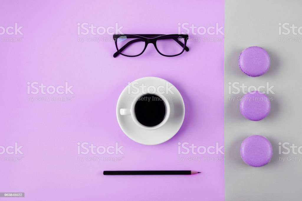 Woman working space lay flat style. - Royalty-free Above Stock Photo