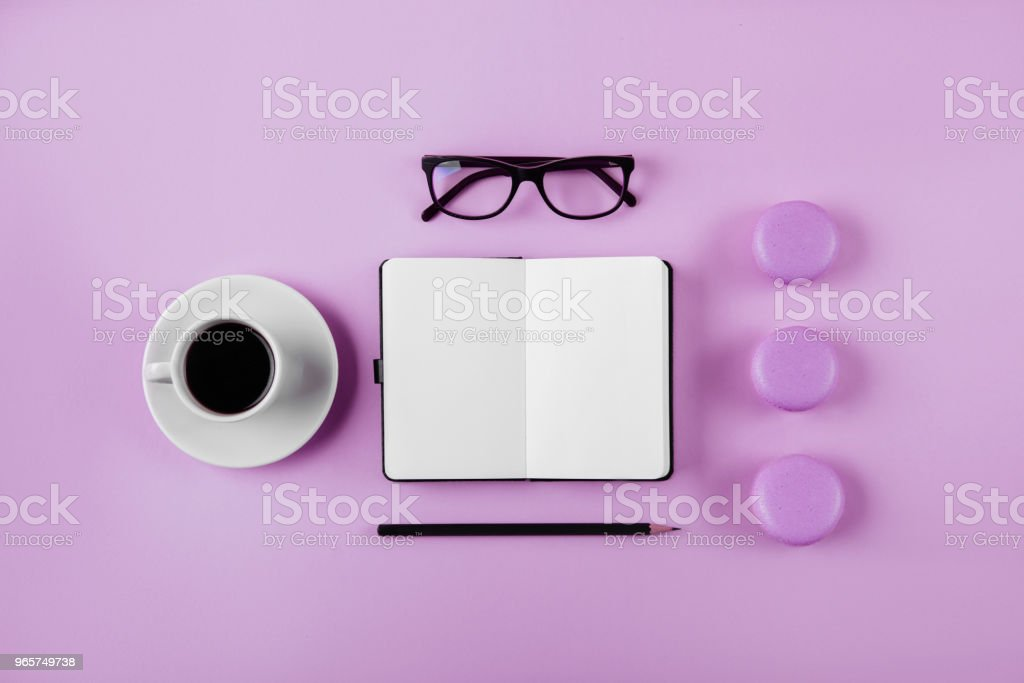 Vrouw werkruimte lag plat stijl. - Royalty-free Achtergrond - Thema Stockfoto