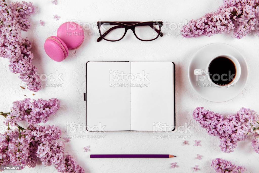 Woman working space lay flat style. stock photo
