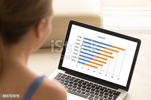 istock Woman working with laptop, analyzing financial timeline stats on 855752976