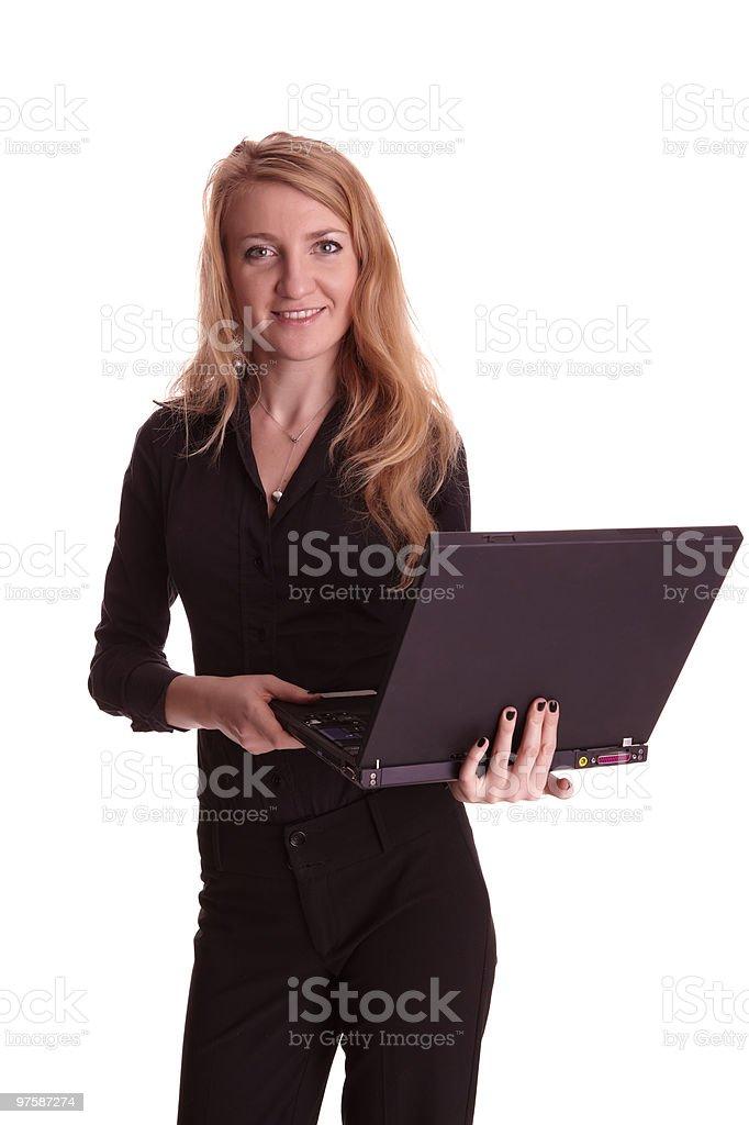 Femme travaillant avec ordinateur portable photo libre de droits
