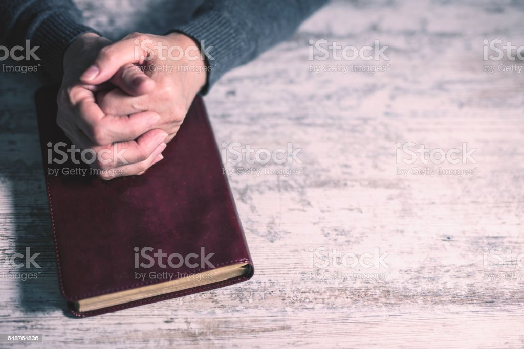 Woman worshiping god, close up stock photo