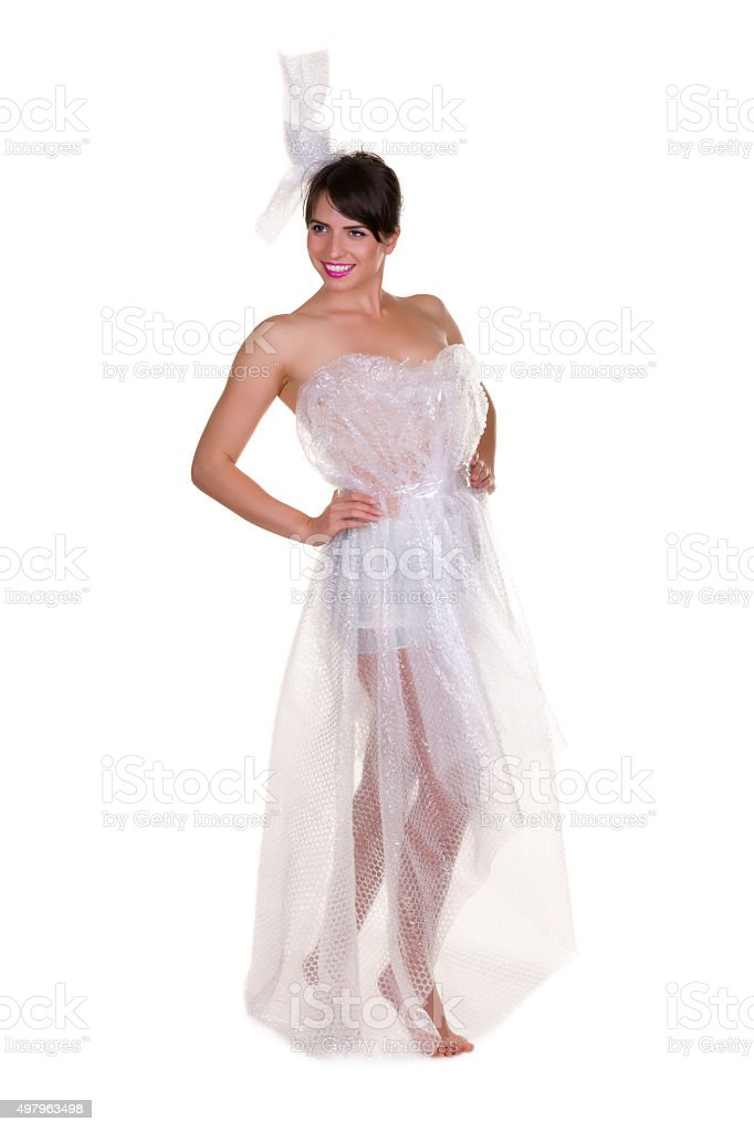 Woman wrapped in bubble wrap stock photo