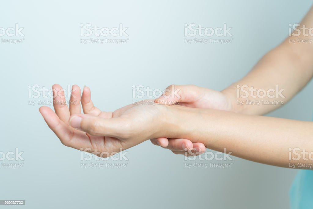 woman wrist arm pain. office syndrome healthcare and medicine concept royalty-free stock photo