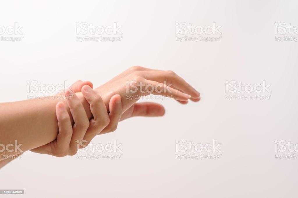 woman wrist arm pain. office syndrome healthcare and medicine concept zbiór zdjęć royalty-free
