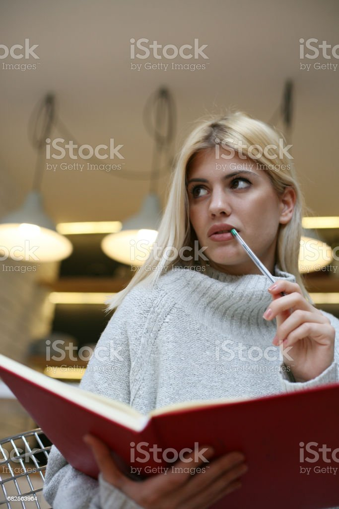 Woman writing in her diary. Caucasian woman writing notes. stock photo