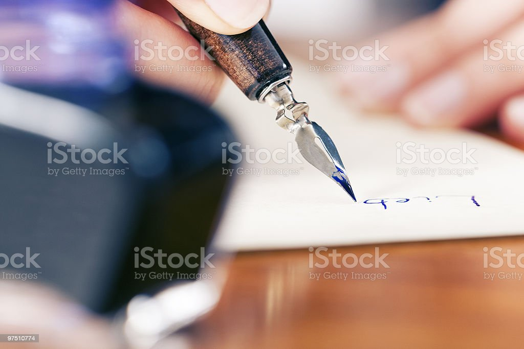 Woman writing love letter royalty-free stock photo