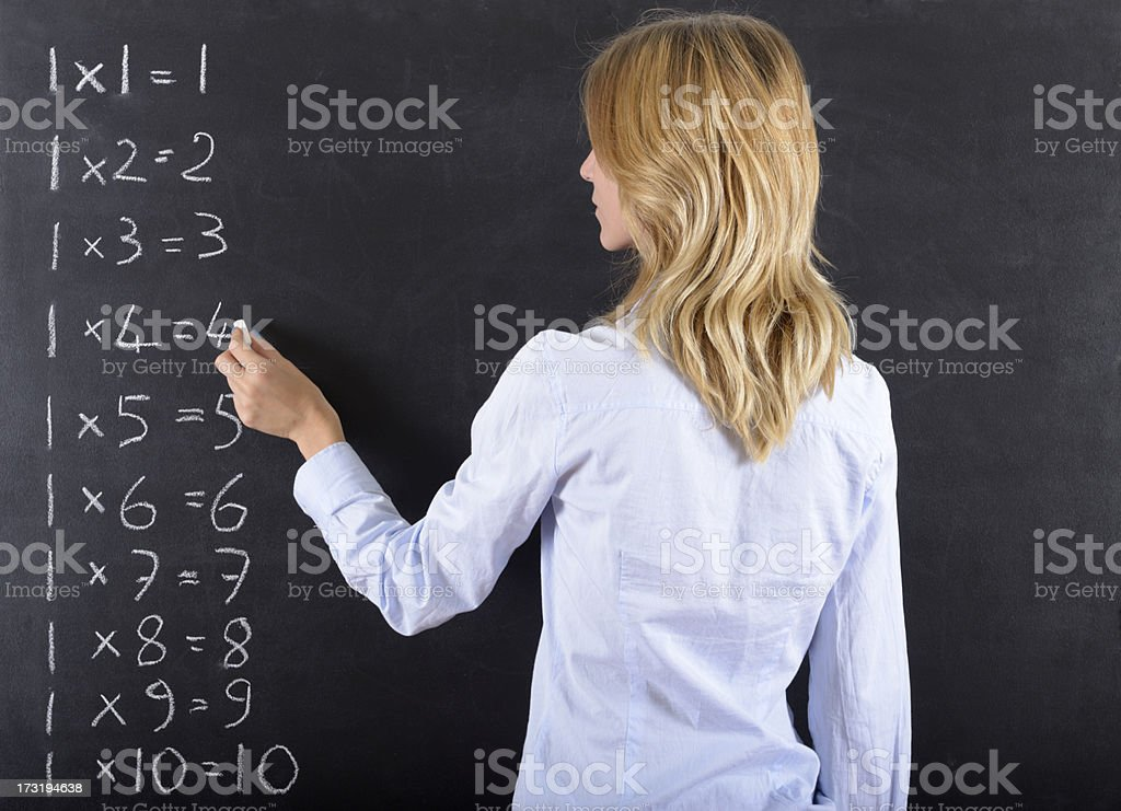 Woman Writing Numbers royalty-free stock photo