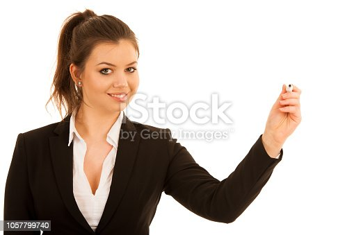 woman writing on transparent board isolated over white background