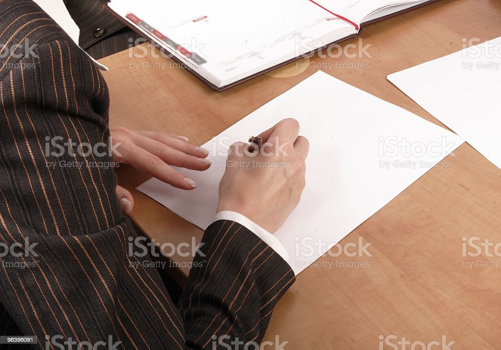 woman writting on blank paper - Royalty-free Adult Stock Photo