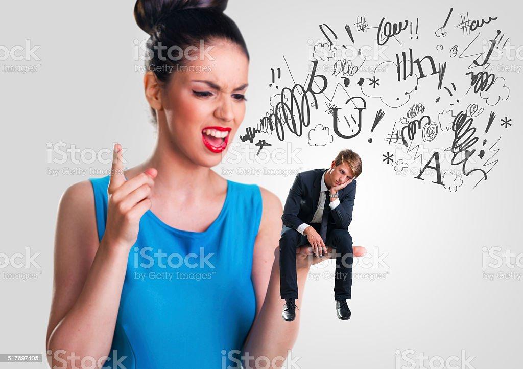 Woman yelling at a man stock photo
