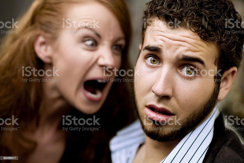 Woman Yells at Man stock photo
