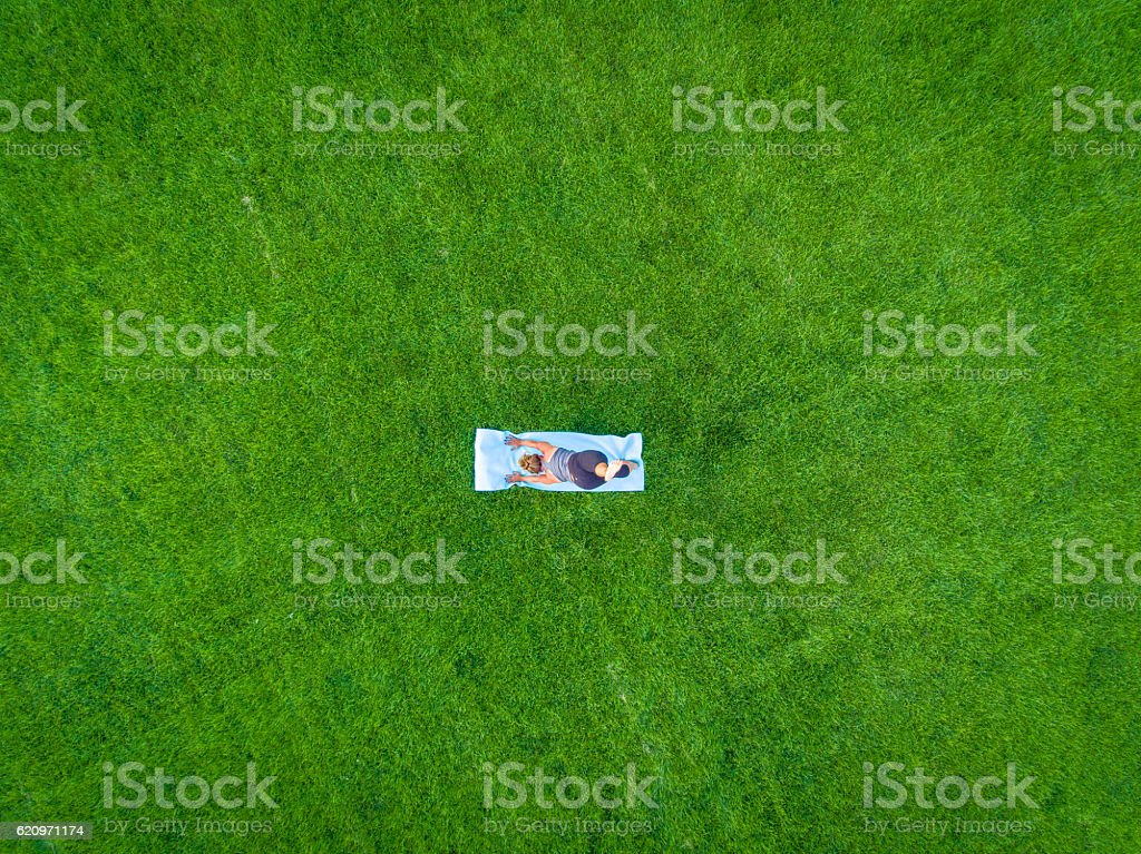 Woman Yoga Aerial stock photo