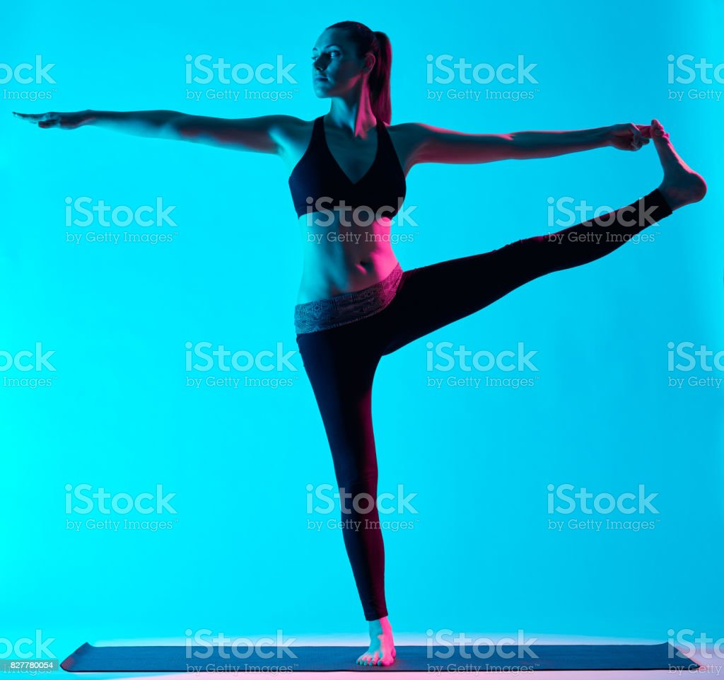 woman yoga exercices Hasta Padangusthasana stock photo